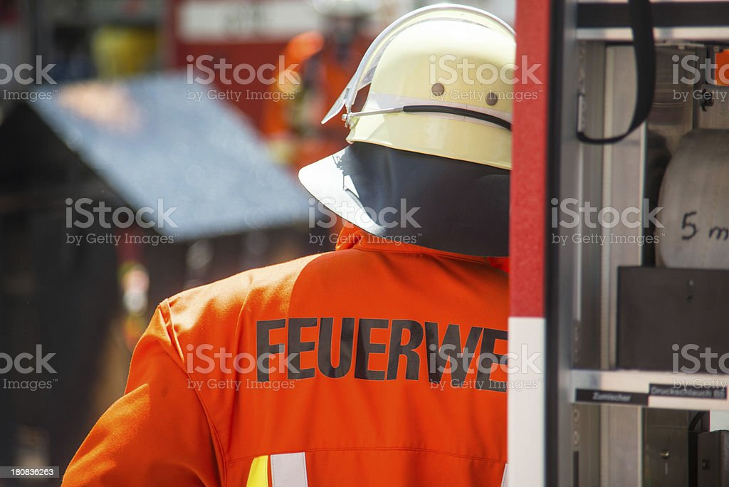 german fireman at work stock photo