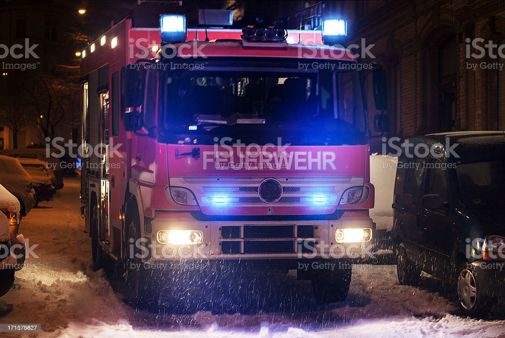 German Firetruck on icy road royalty-free stock photo