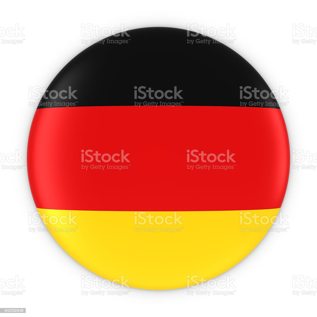 German Flag Button - Flag of Germany Badge 3D Illustration stock photo