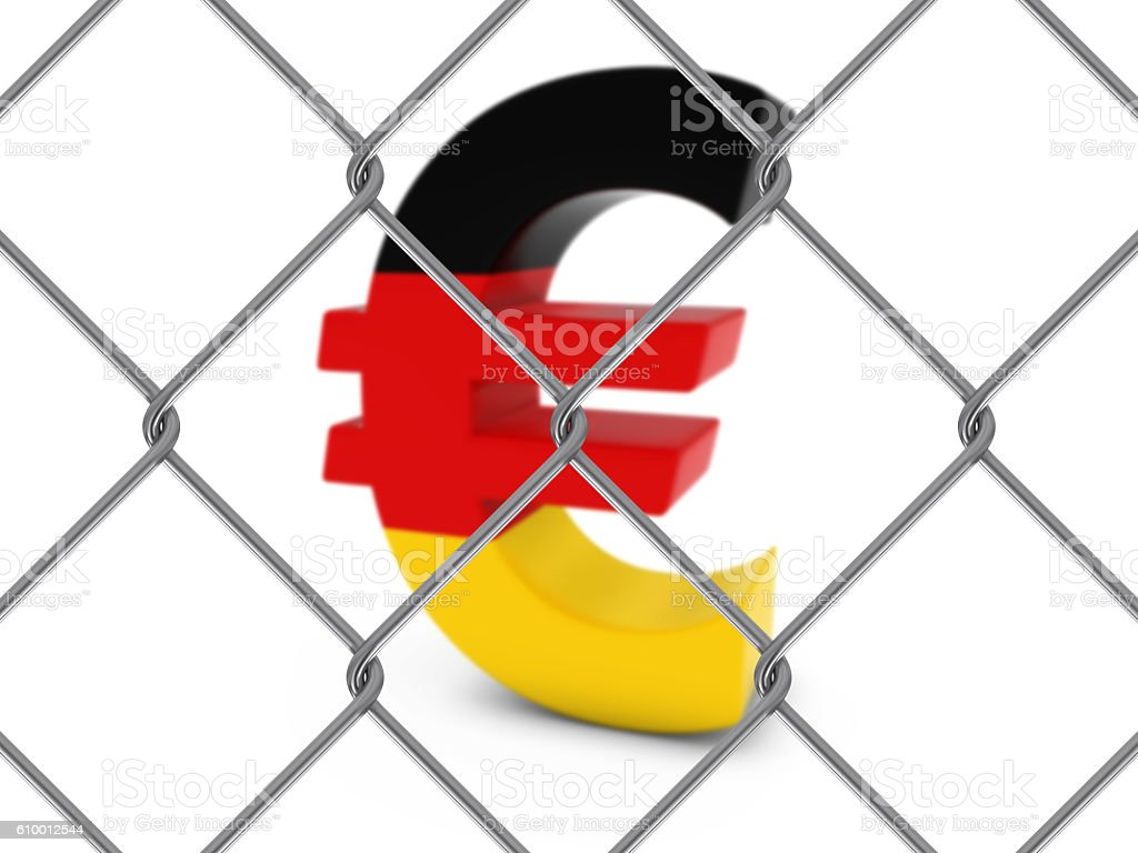 German Flag Euro Symbol Behind Chain Link Fence Stock Photo More