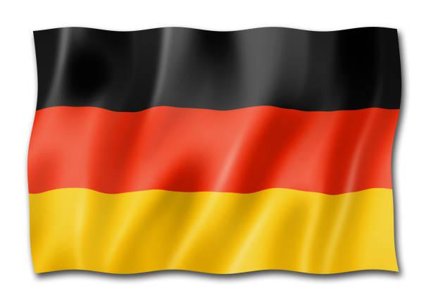 drapeau allemand isolé sur blanc - drapeau allemand photos et images de collection