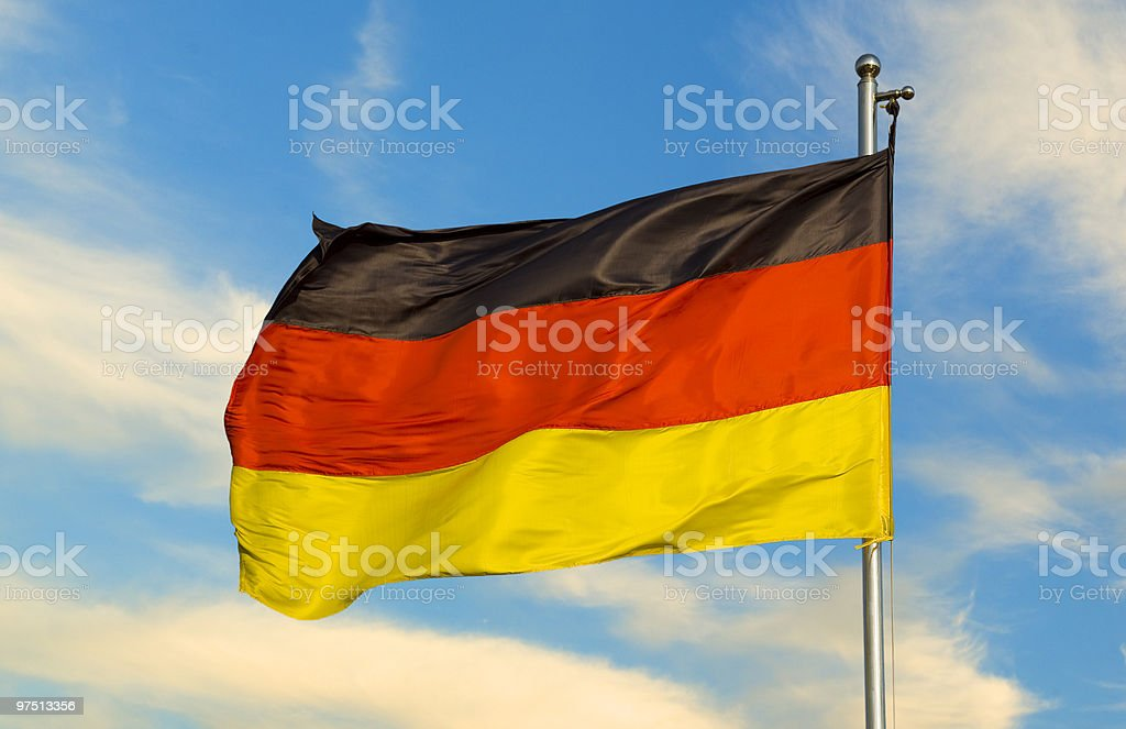 german flag on a pole royalty-free stock photo