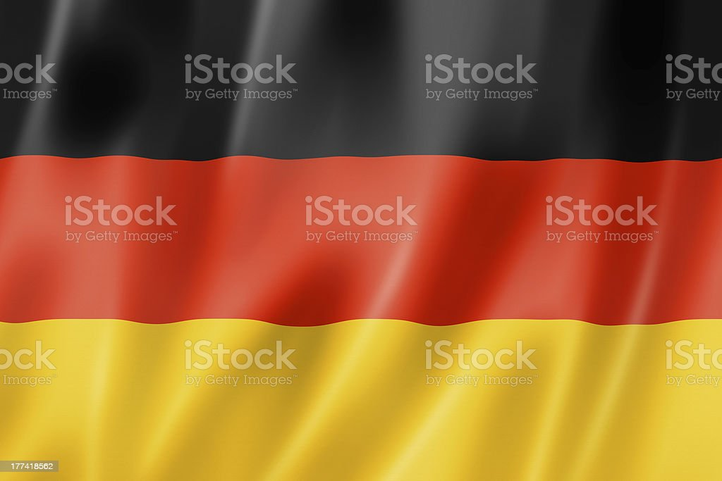 German flag vectorized simulating a 3D motion stock photo