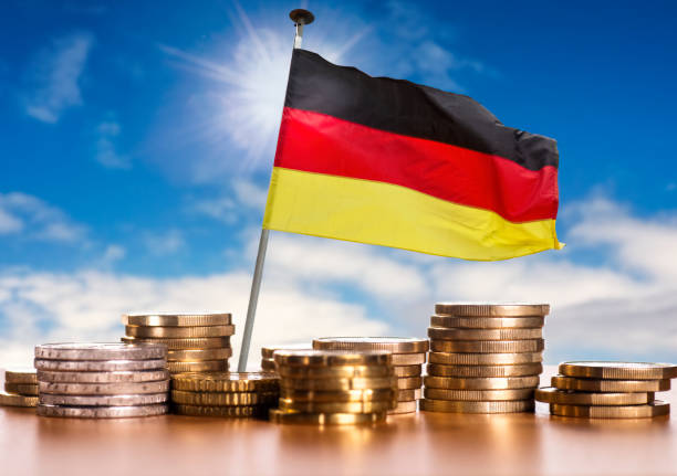 German flag with Euro coins stock photo