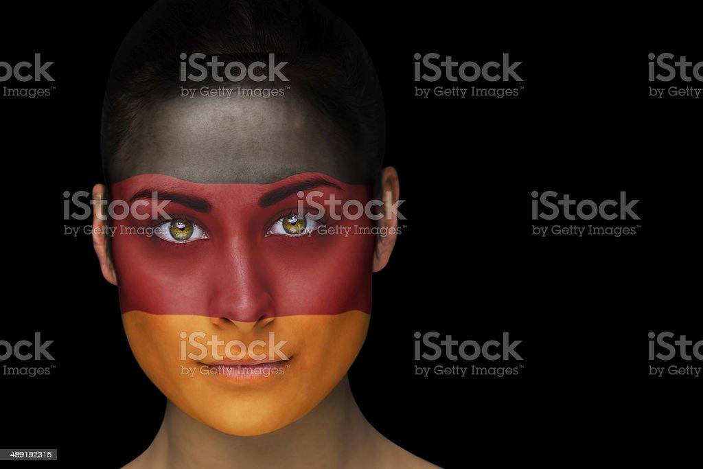 German football fan in face paint stock photo