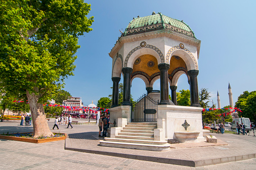 German Fountain in Sultanahmet Square, the ancient Hippodrome of Constantinople, Istanbul, Turkey.