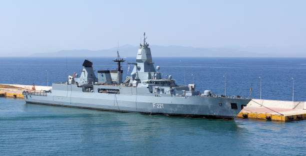 German frigate Hessen PIRAEUS, GREECE - JULY 7: German frigate Hessen docked in Piraeus port on July 7, 2019. Hessen is the third and final ship of the Sachsen class to be  commissioned into the German Navy. aegis stock pictures, royalty-free photos & images