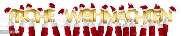 Alman Frohe Weihnachten Mutlu Noeller Noel Baba Eller Altın Harfler Stok Fotoğraflar & Alfabe'nin Daha Fazla Resimleri