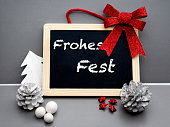 istock german 'Frohes Fest' (Merry Christmas) on blackboard 501256842