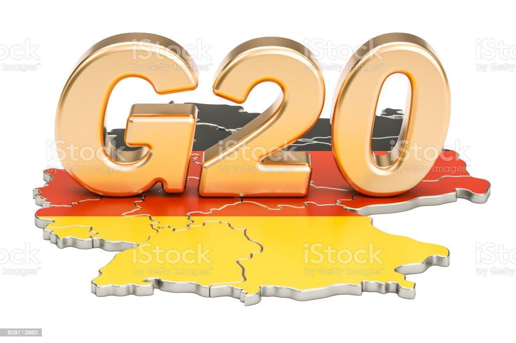 German G20 meeting concept. Summit G20, 3D rendering stock photo