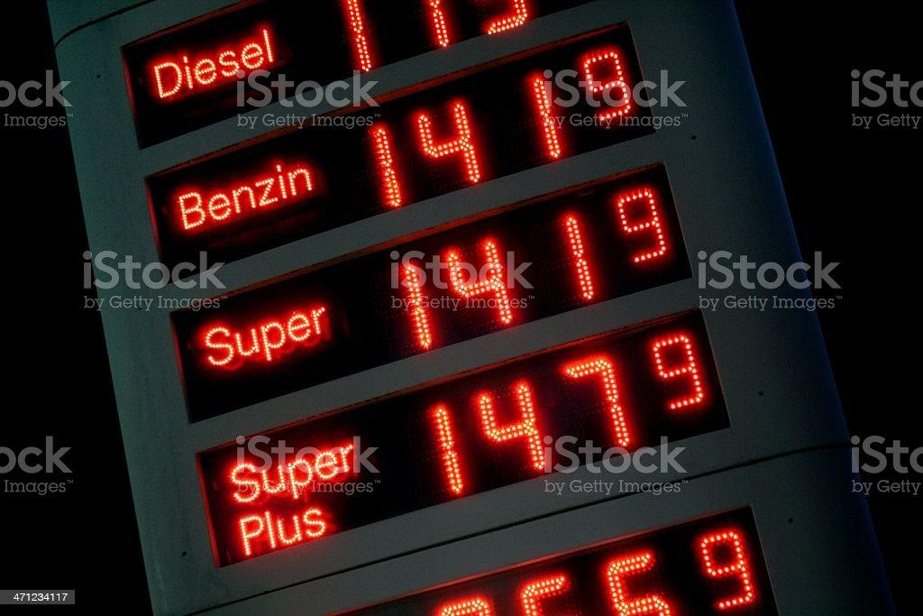 Deutsche Tankstelle Anzeige bei Nacht - Lizenzfrei Anzeigetafel Stock-Foto