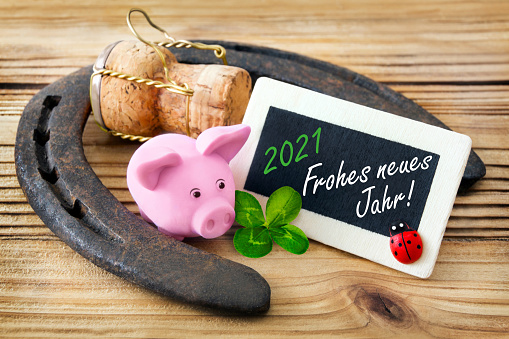 German Happy New Year Label 2021