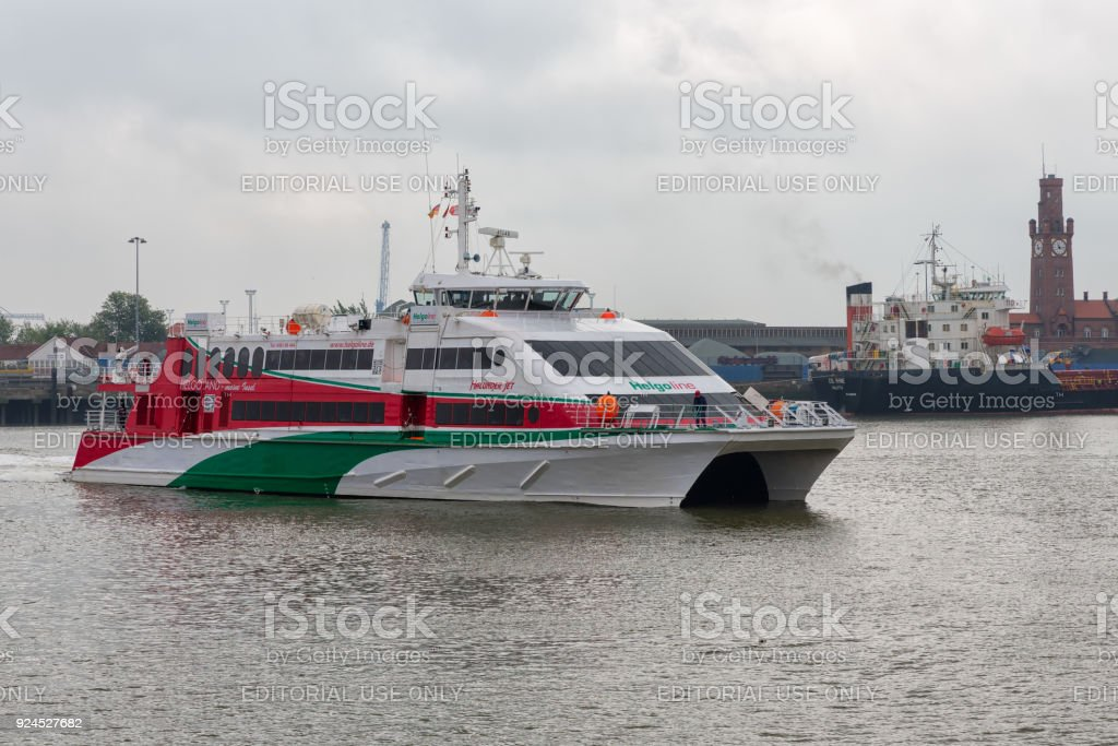 German harbor Cuxhaven with arrival ferry to Helgoland. stock photo