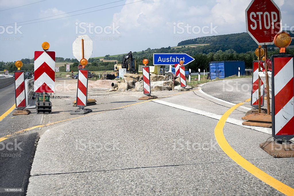 German highway, construction site and exit royalty-free stock photo