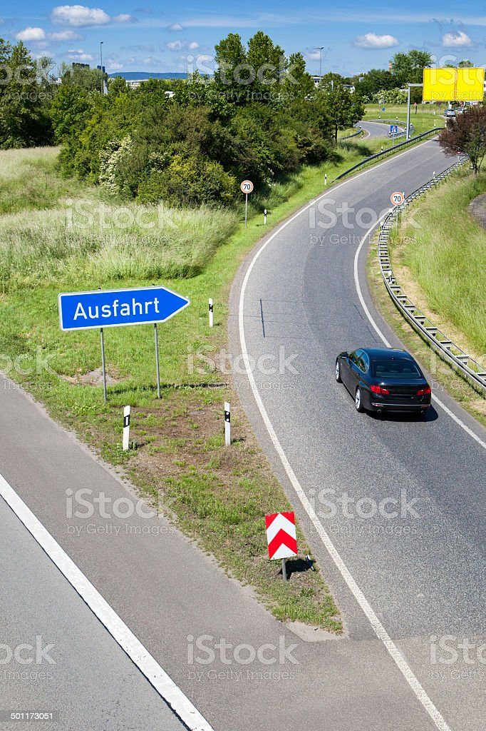 German highway exit - Ausfahrt stock photo