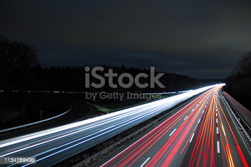 Highway lights at night in Germany. Long time exposure