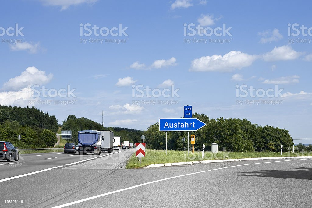 German highway, road sign - Ausfahrt/Exit stock photo