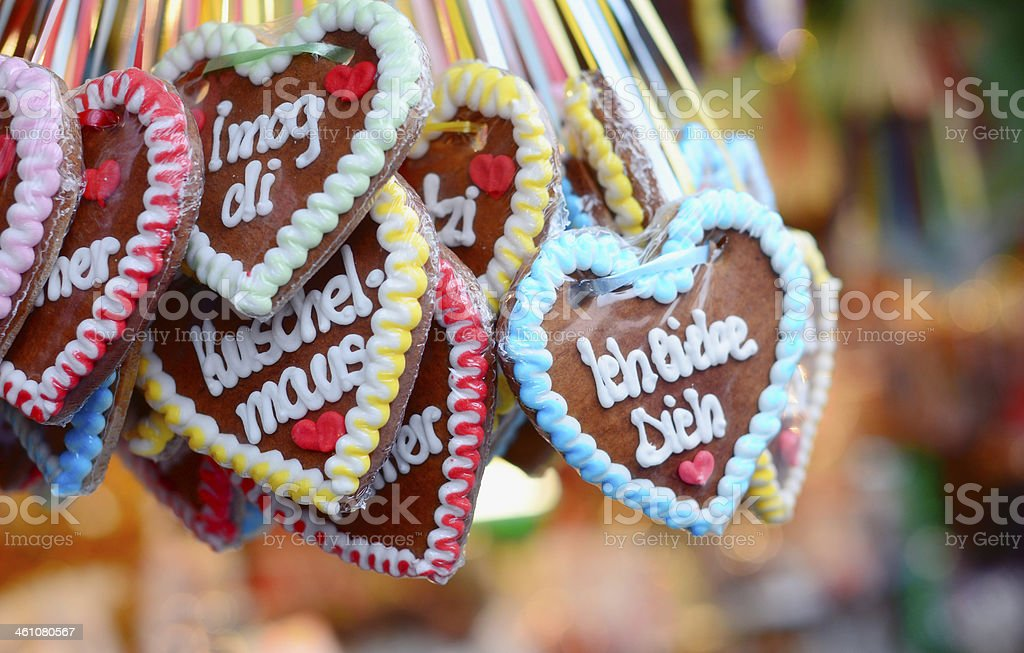 German I love You Gingerbread Hearts royalty-free stock photo