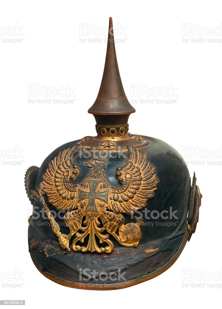 German imperial military helmet pickelhaube isolated on white stock photo