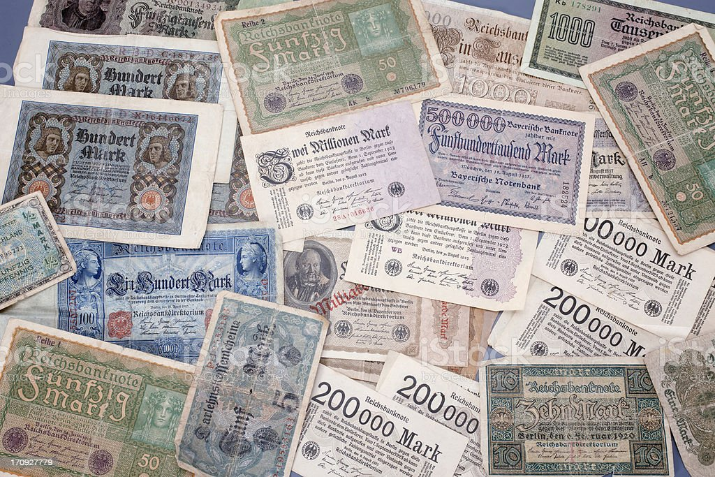 German Inflation money from 1920s royalty-free stock photo