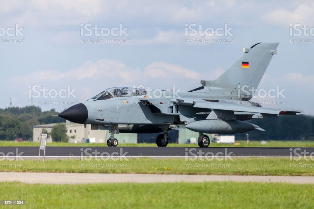 german jet fighter drives on military airbase stock photo