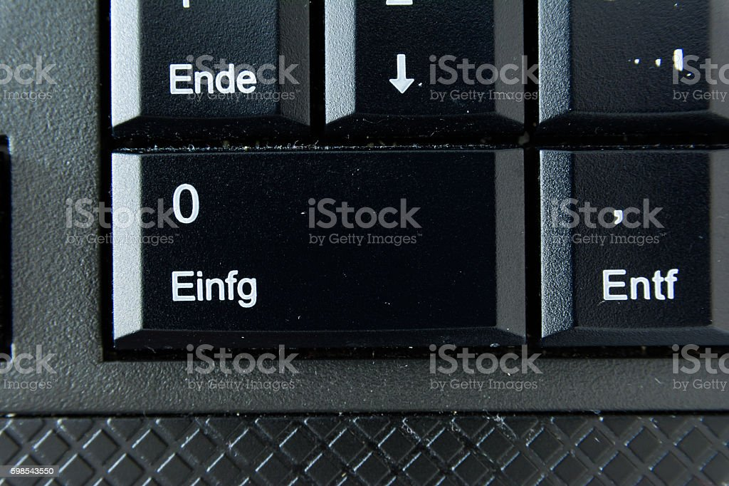 German Keyboard Button White Black Macro Letters Numbers photo libre de droits