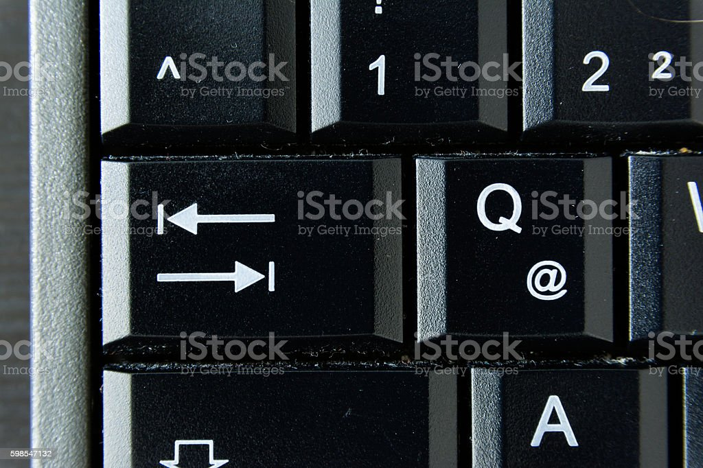 Q German Keyboard Button White Black Macro Letters Numbers photo libre de droits