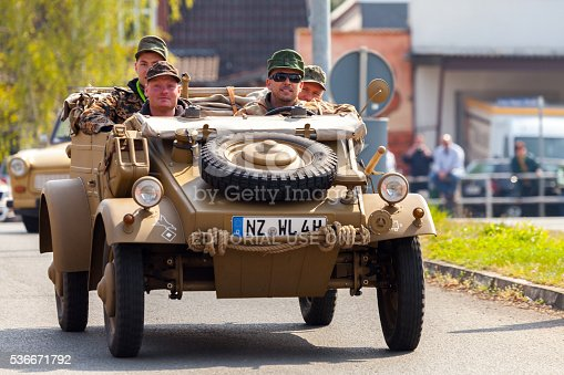 Altentreptow, Germany - May 1, 2016: german kubelwagen, vw typ 82 drives on an oldtimer show in altentreptow, germany at may 1, 2016.