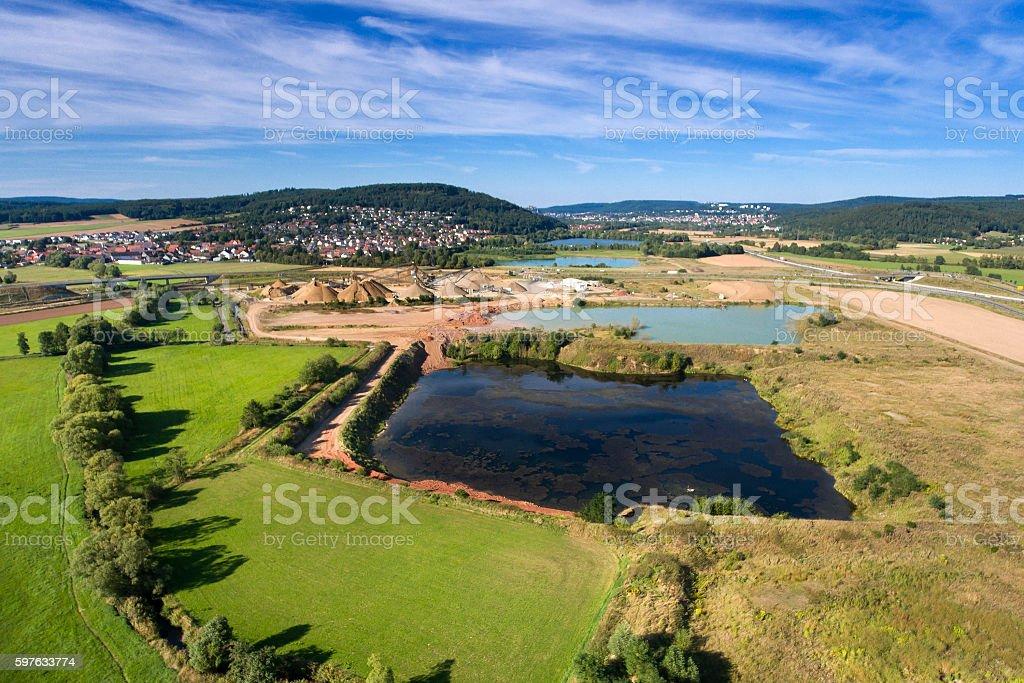 German landscape, gravel pit, Marburg Hessen stock photo