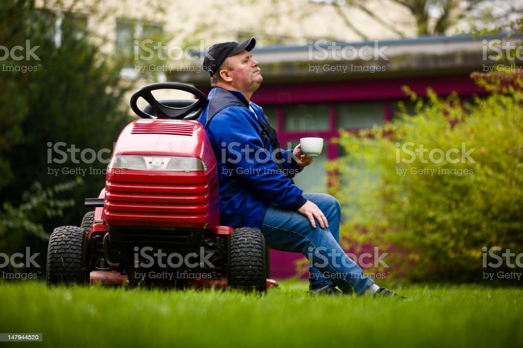 German Landscaper Taking a Coffee Break. stock photo