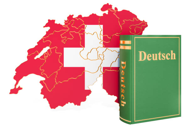 German language book with map of Switzerland, 3D rendering isolated on white background stock photo
