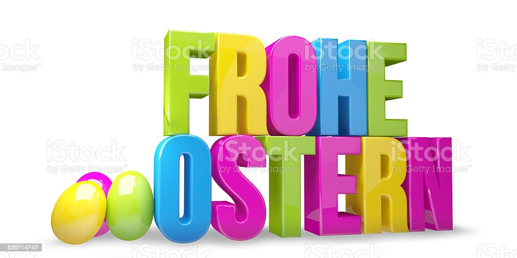 german language for Happy Easter 3D render royalty-free stock photo