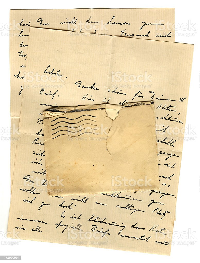 German letter and blank envelope royalty-free stock photo