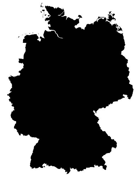 German Map Silhoette Outline Borders on White Background stock photo