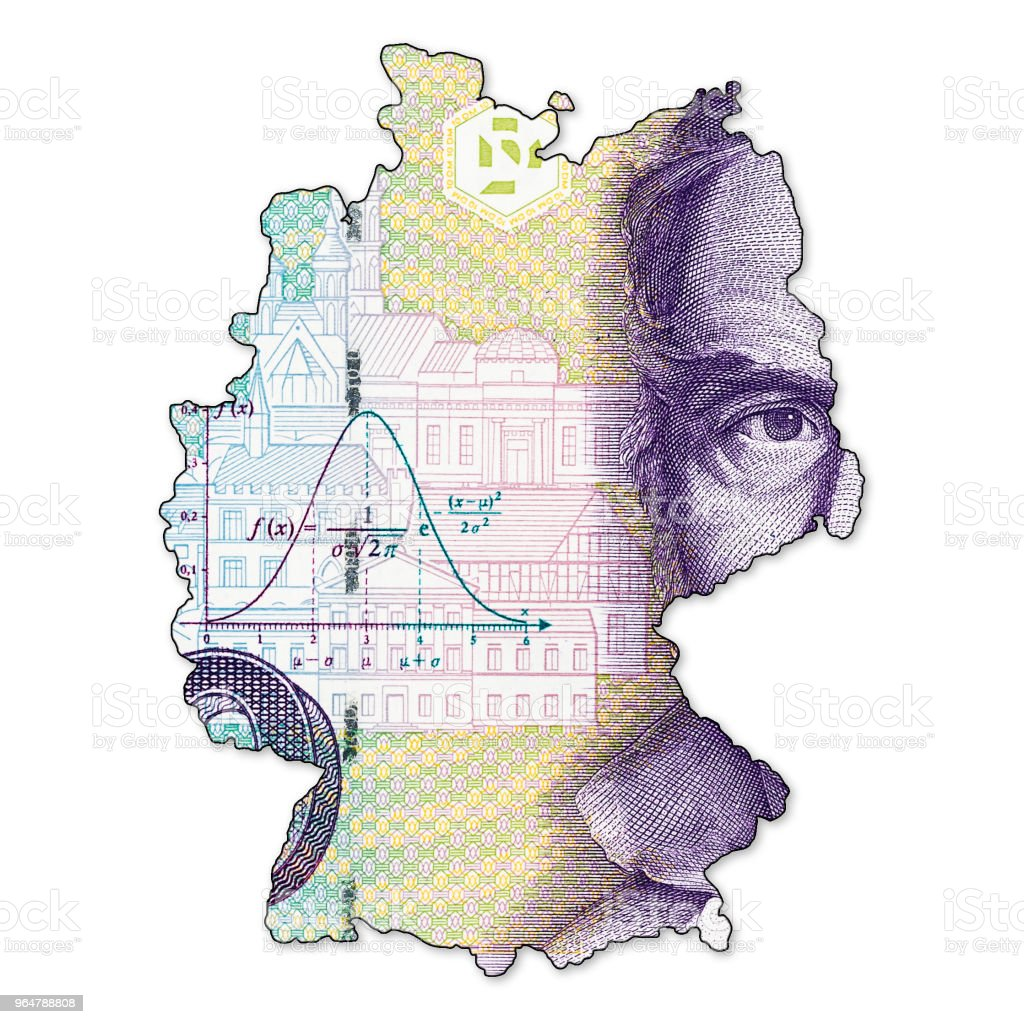 10 german mark bank note obverse in shape of germany royalty-free stock photo