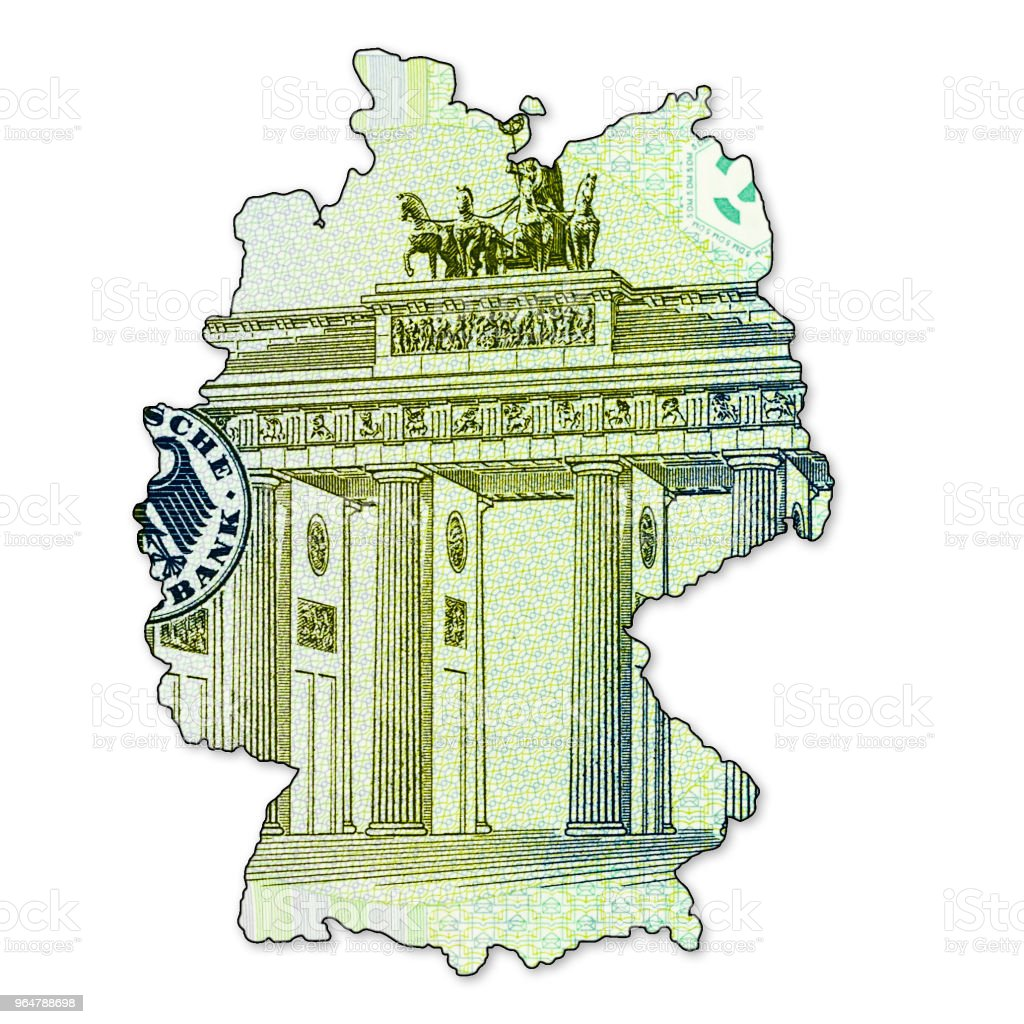 5 german mark bank note reverse in shape of germany royalty-free stock photo