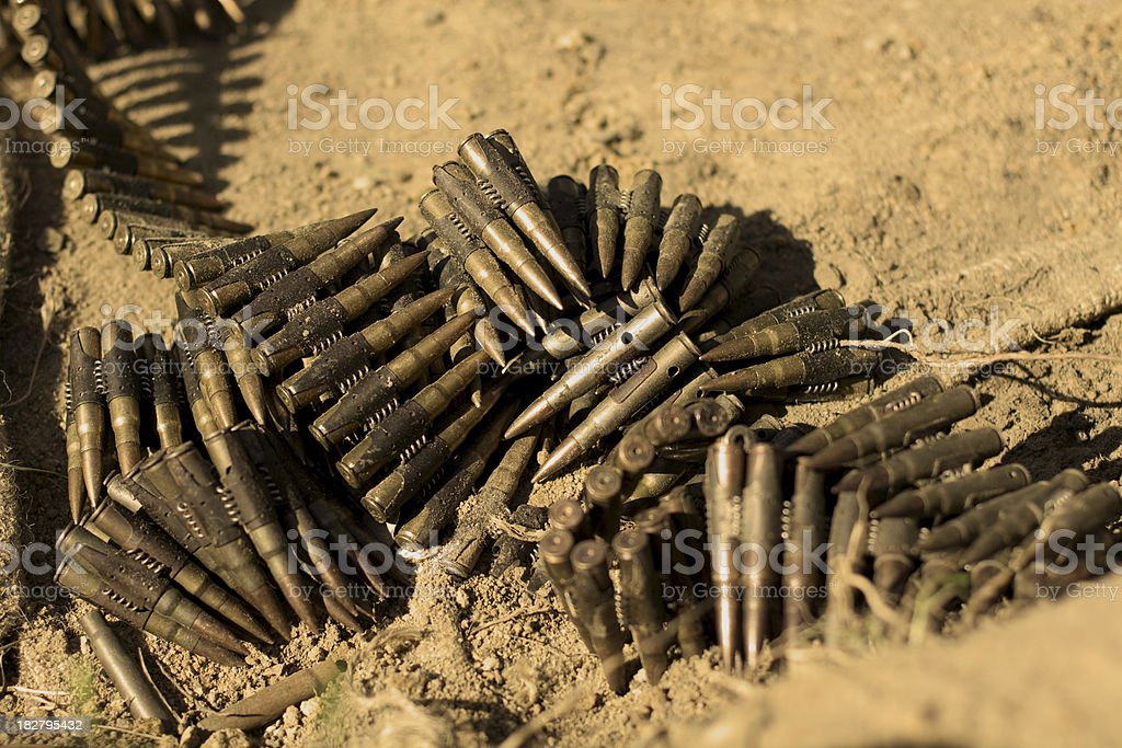 WW II German MG-34 machine-gun bullets stock photo