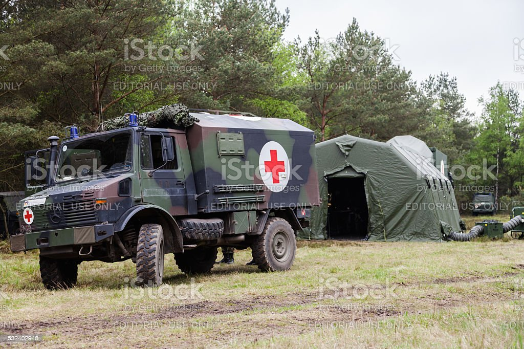 german military ambulance stands on rescue center system stock photo