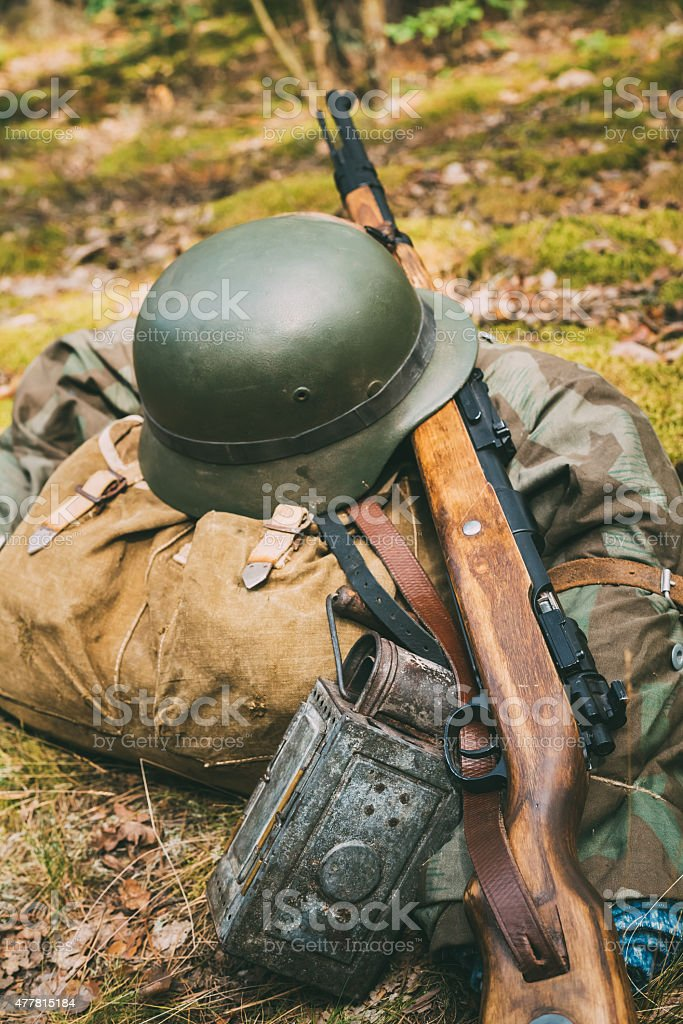 German military ammunition of World War II on ground. stock photo