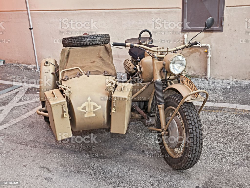German military bike BMW R75 stock photo