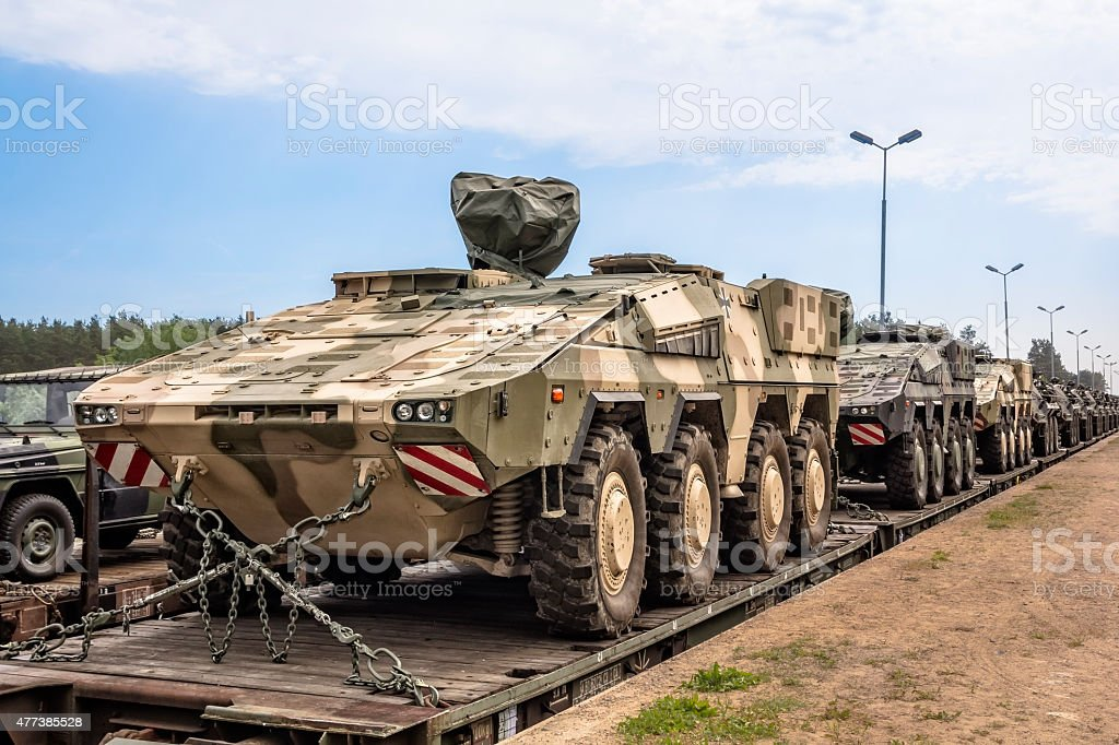 German military equipment on a railway siding stock photo
