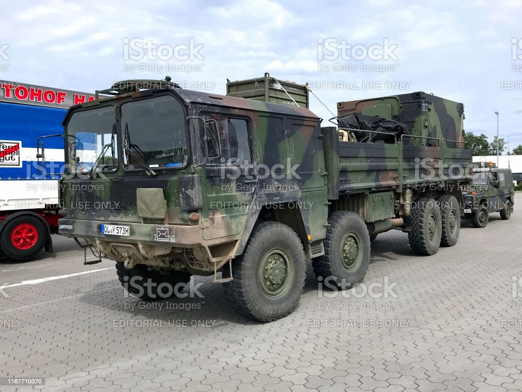 German military high-mobility off-road truck MAN KAT1 parked on a...