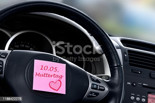 German Mother's Day car dashboard background with label