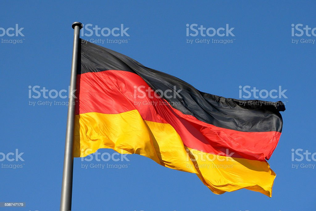 German national flag in Berlin stock photo