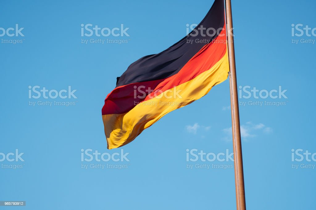 German national flag on blue sky background - Royalty-free Above Stock Photo