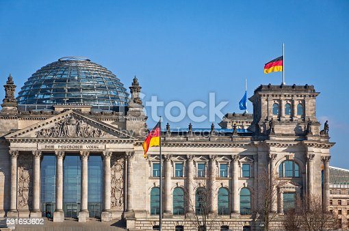 istock German National flags waving in front of German parliament buildi 531693602