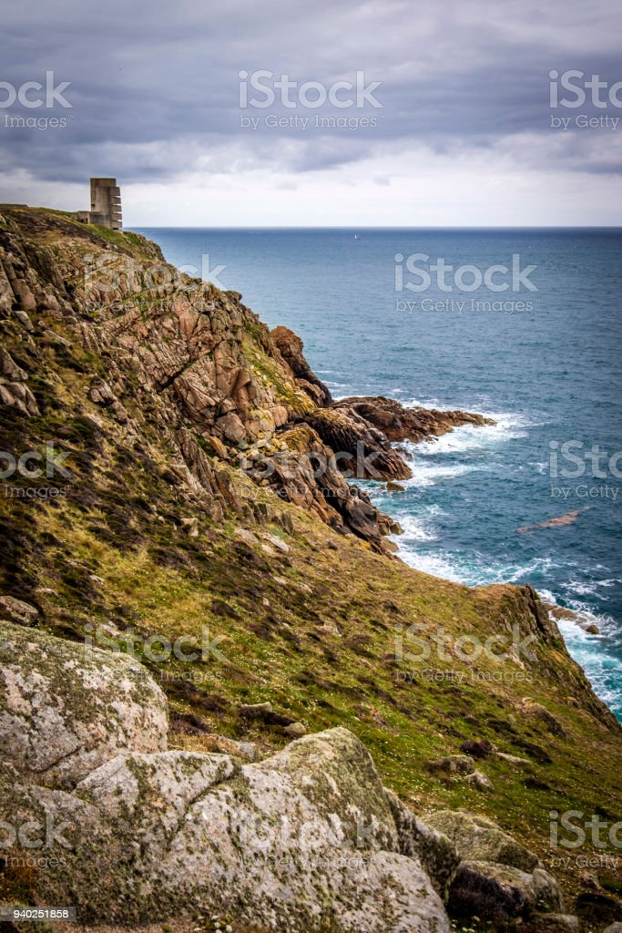 WWII German Naval Tower MP3, Battery Moltke, St Ouen, Jersey, Channel Islands. stock photo