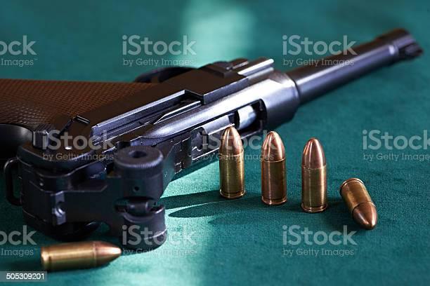 German Parabellum pistol with cartridges