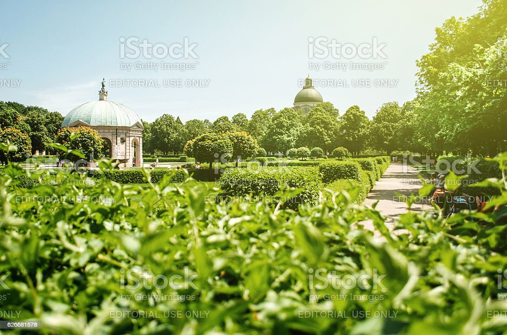German park in Munchen with Dianatempel stock photo
