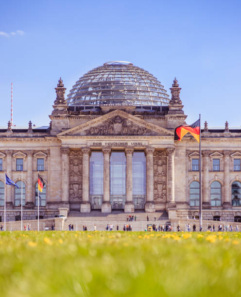 german parliament, berliner reichstag in springtime: tourist attraction in berlin - cupola stock pictures, royalty-free photos & images